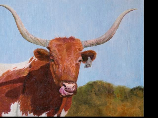 Longhorn painting   oil on cactus