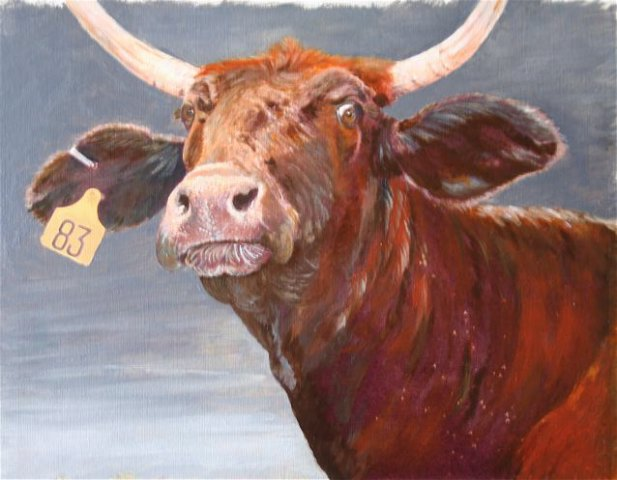 Oil painting of a mad mama cow