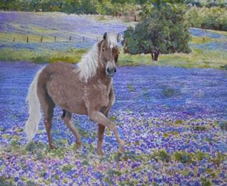 pony in the wildflowers-progress painting