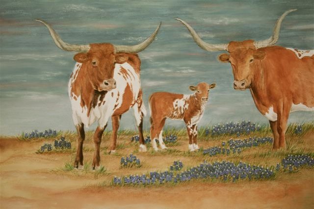 Giclee of Longhorns And Bluebonnets