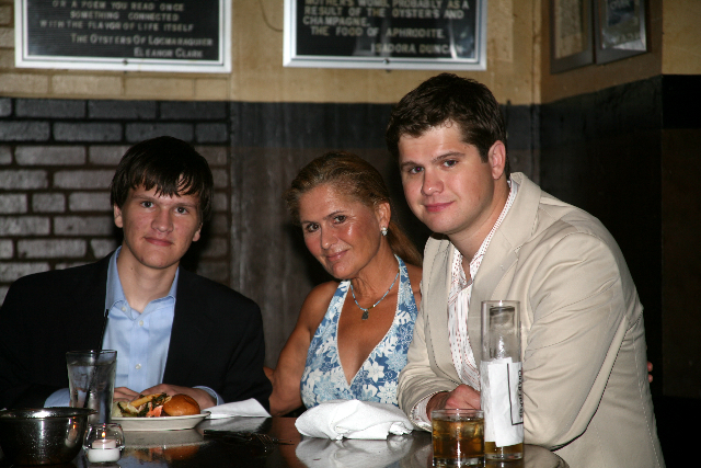 Dana and boys at the rehearsal dinner