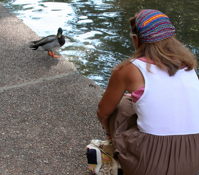 He's wishing I would fall in...Quack Quack!